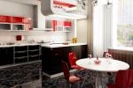 Кухня и столовая. Красное с черным