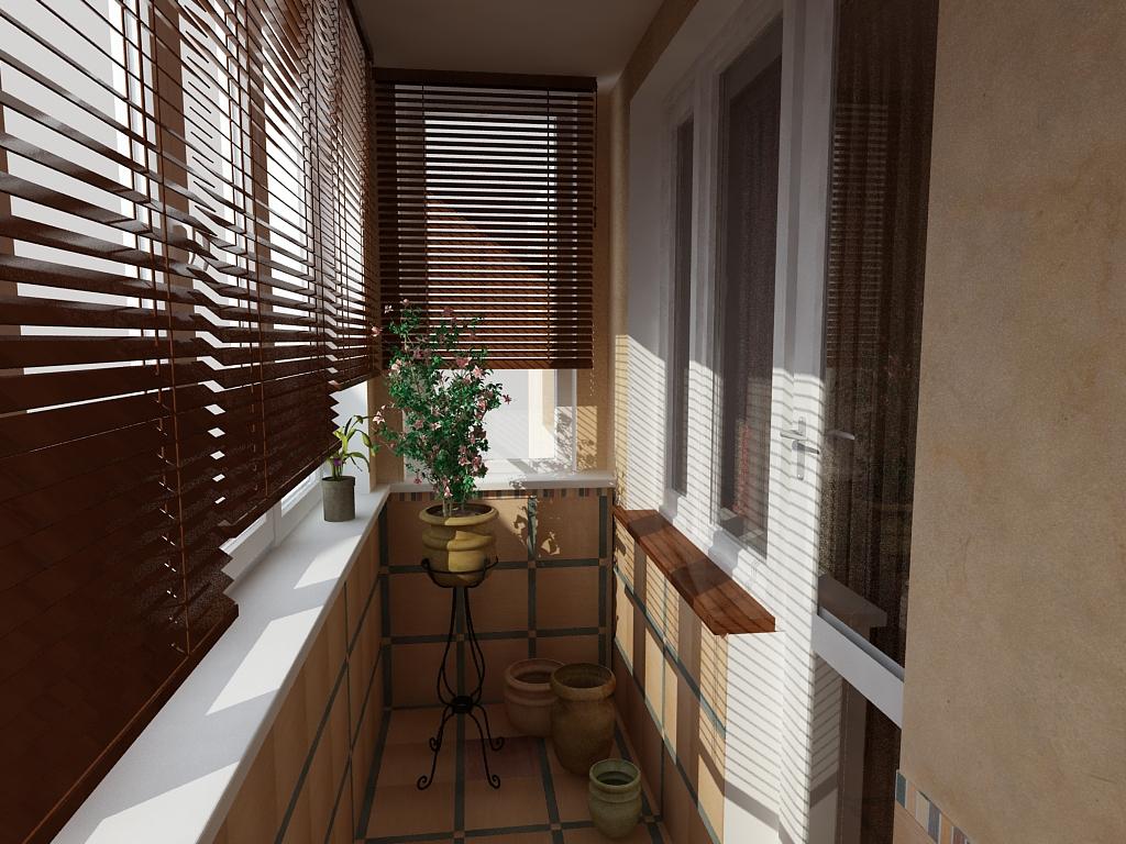 Маленький узкий балкон окнами со всех сторон.