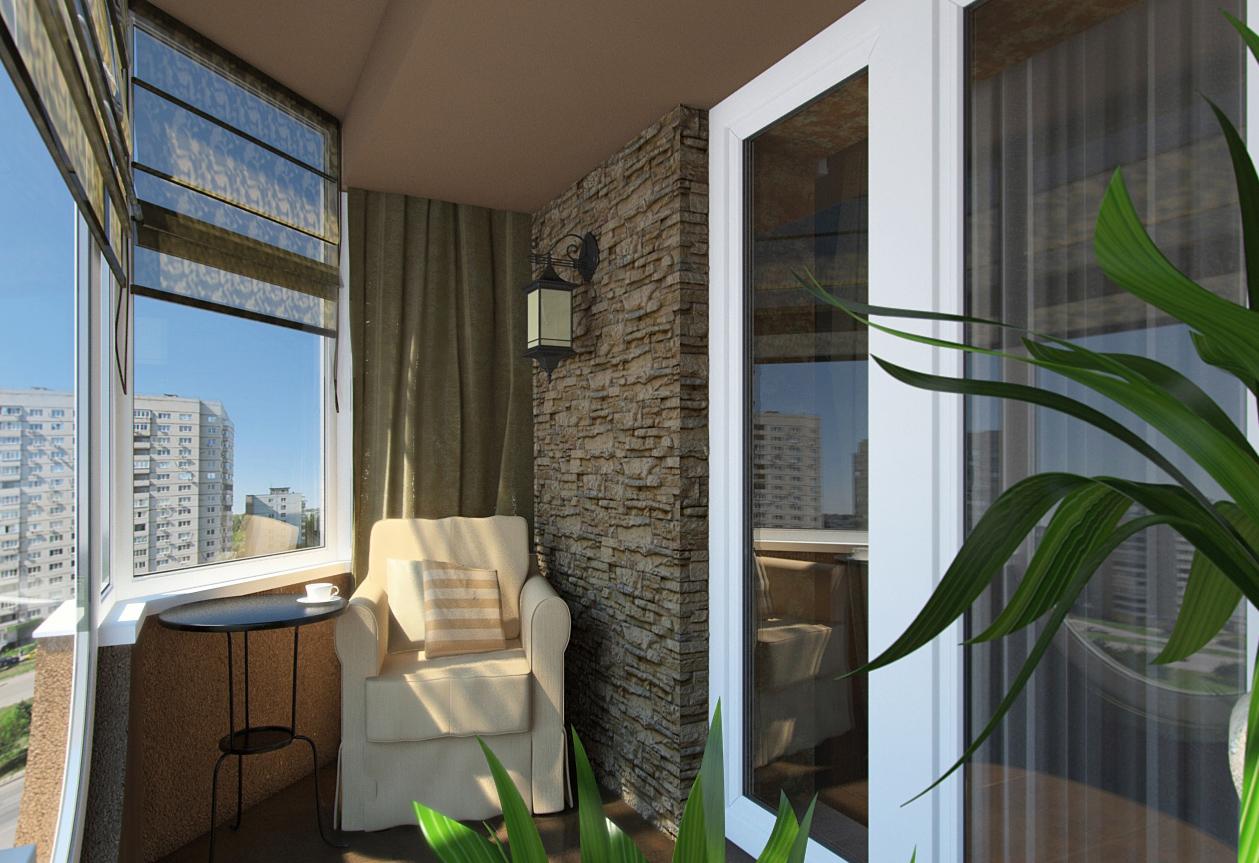 Остекление и оформление балкона в классическом стиле..